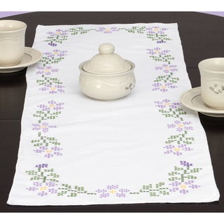 "Stamped Table Runner/Scarf 15""X42""-Starflowers"