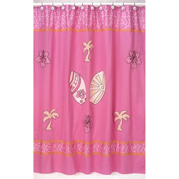 Sweet Jojo Designs Tropical Hawaiian Pink Shower Curtain
