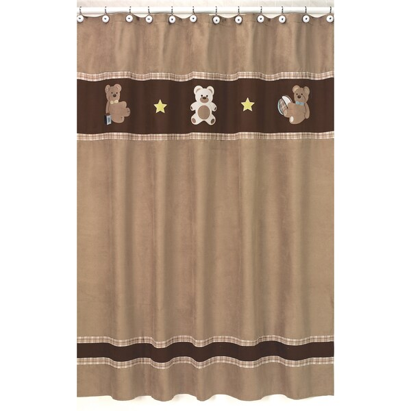 Sweet Jojo Designs Chocolate Teddy Bear Kids Shower Curtain