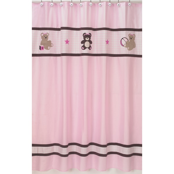 Sweet Jojo Designs Pink Teddy Bear Kids Shower Curtain