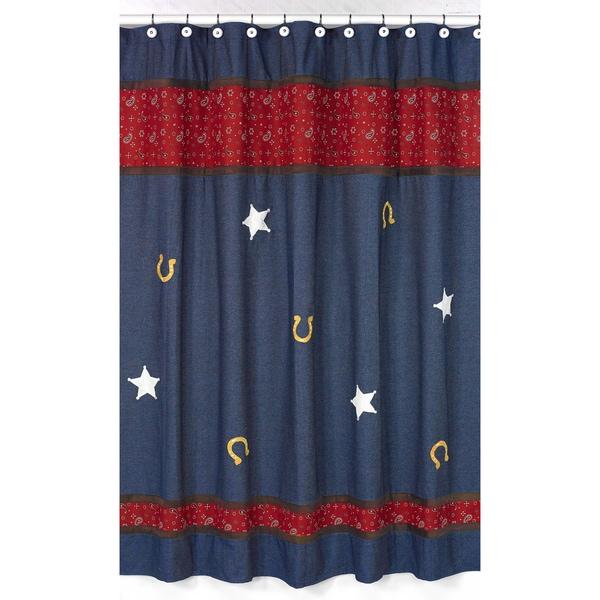 Sweet Jojo Designs Wild West Cowboy Western Denim Shower Curtain