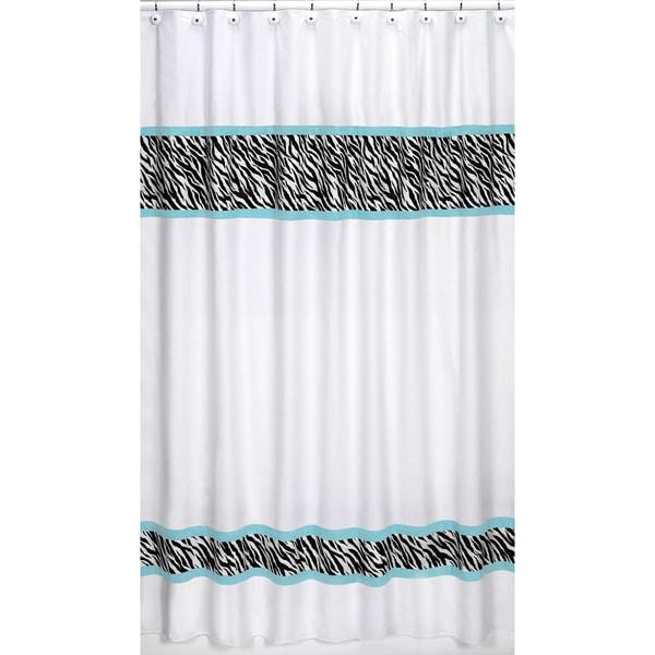 Sweet Jojo Designs Turquoise Funky Zebra Shower Curtain