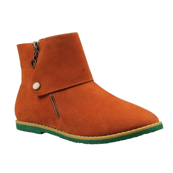 Refresh by Beston Women's 'Darby 2' Orange Side-zip Ankle Booties