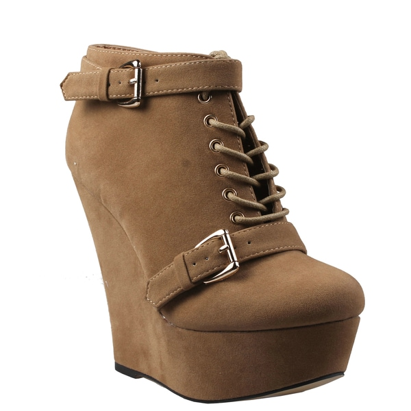 Refresh by Beston Women's 'Febee' Camel Lace-up Ankle Booties