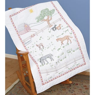 """Stamped White Lap Quilt Top 38""""X58""""-Field Of Horses"""