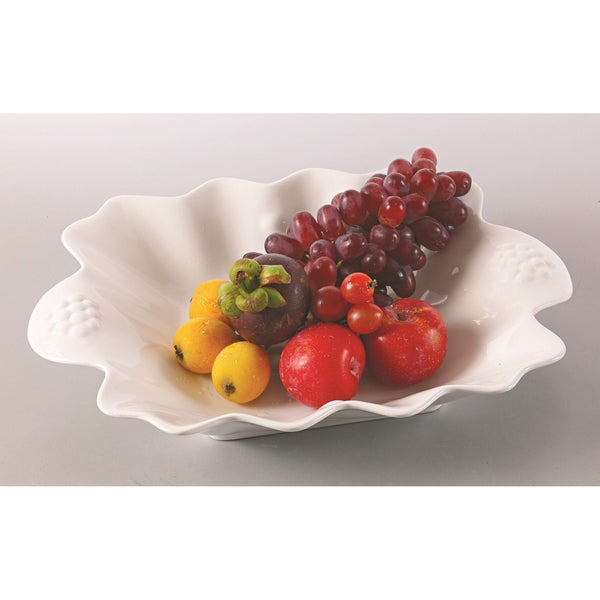 Red Vanilla Bright White Clamshell Serving Bowl