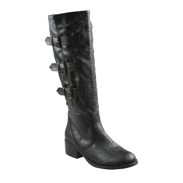 Refresh by Beston Women's 'Kirby' Black Knee-High Riding Boots