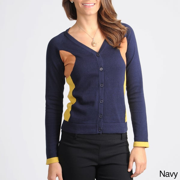 Yal New York Women's Novelty Colorblock Cardigan Sweater
