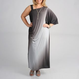 Onyx Nites Women's Plus Size Ombre Full-length Evening Dress