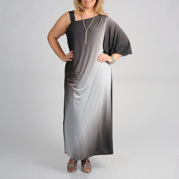 Onyx Nites Women's Plus Size Ombre Full-length Evening Dress