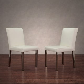 Shop Cosmopolitan Stainless Steel Modern White Leather Dining Chairs Set Of 2 Free Shipping