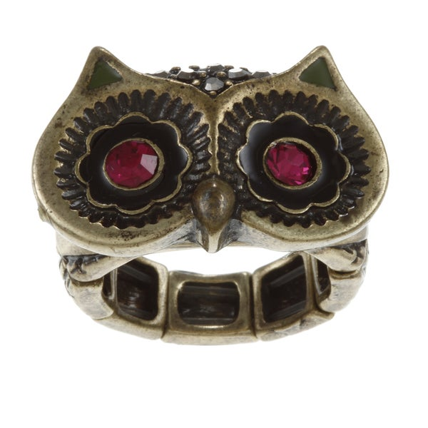 Betsey Johnson CZ Owl Eyes Stretch Ring