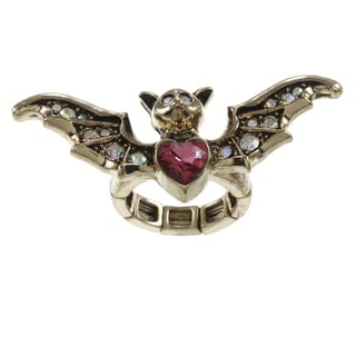 Betsey Johnson CZ Bat Wings Stretch Ring