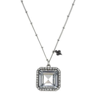 Betsey Johnson Crystal Square Pendant Necklace