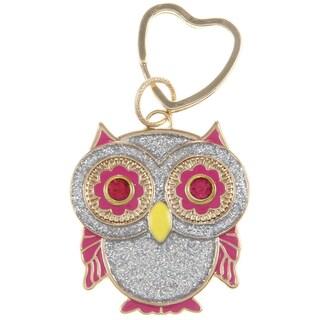 Betsey Johnson Glitter Silver Owl Key Chain