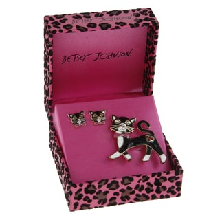 Betsey Johnson Black Cat Pin and Earrings Set