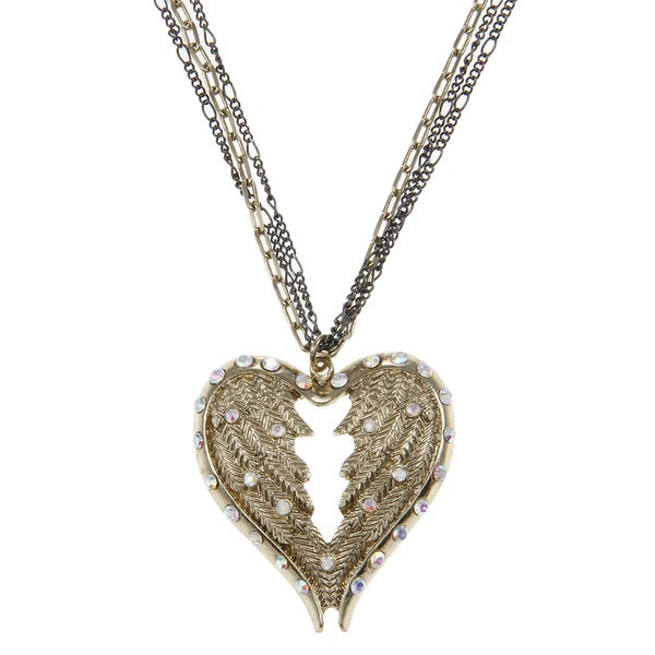 Betsey Johnson CZ Heart Wings Pendant Necklace