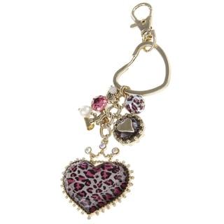 Betsey Johnson Pink Leopard Heart Key Chain