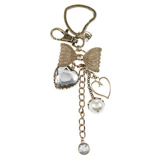 Betsey Johnson Crystal Heart and Bow Key Chain