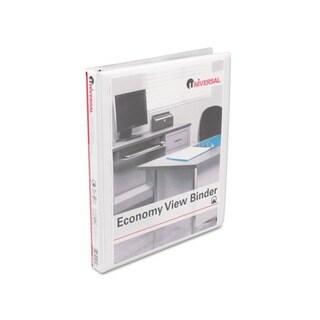 Universal Round-Ring Economy Heavy-Duty Vinyl View White Binder