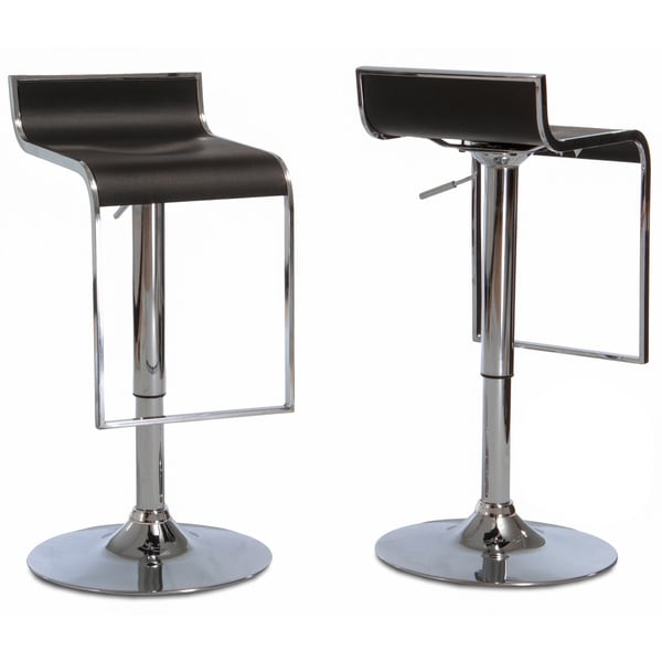 Ruane Black PVC Adjustable Barstools (Set of 2) by Christopher Knight Home
