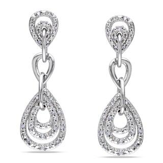 Miadora 10k White Gold 1/4ct TDW Diamond Dangle Earrings (G-H, I1-I2)