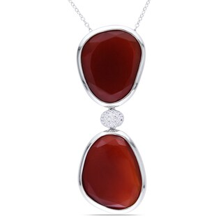 Miadora Sterling Silver Red Onyx and Created White Sapphire Necklace