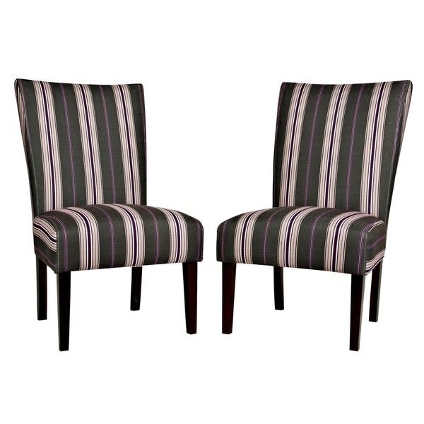 Handy Living Bradford Founding Stripe Armless Chairs (Set of 2)