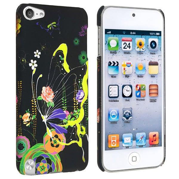 Insten Colorful Flower/ Butterfly Hard Snap-on Rubberized Matte Case Cover For Apple iPod Touch 5th/ 6th Gen