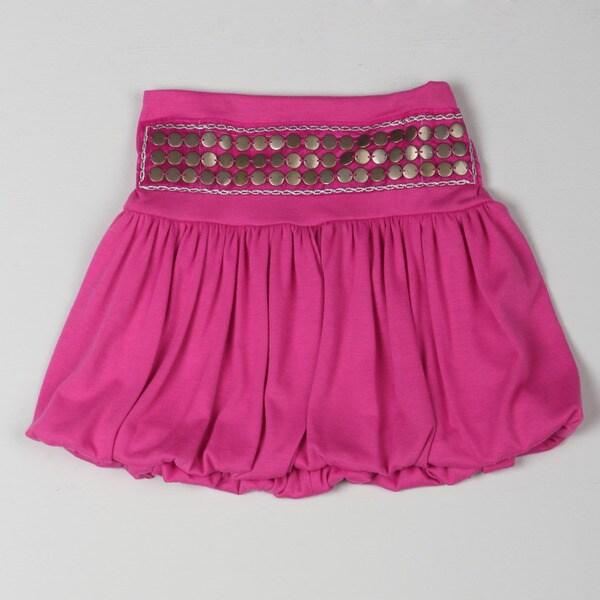 Sweetheart Jane Girl's Pink Studded Band Bubble Skirt