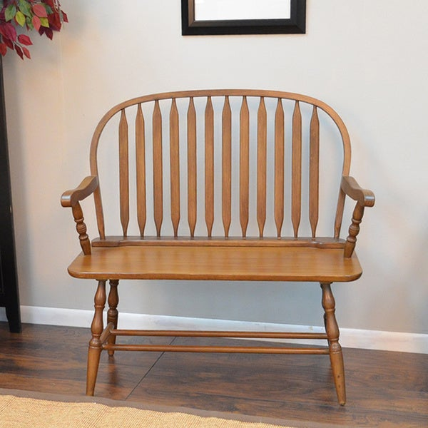 Shop American Oak Winston Bench Free Shipping Today