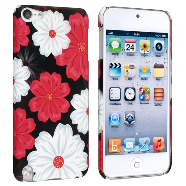 Insten Red Flowers Hard Snap-on Rubberized Matte Case Cover For Apple iPod Touch 5th/ 6th Gen