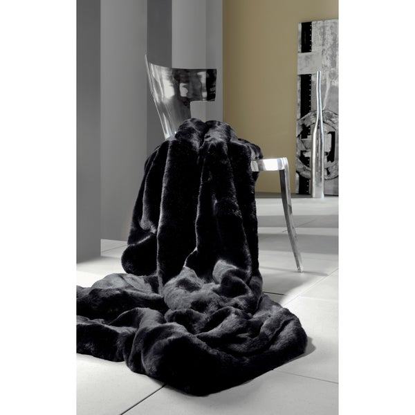 Faux Fur Onyx Mink Oversized Throw