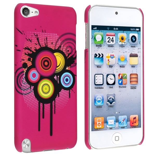 Insten Pink Circles Hard Snap-on Rubberized Matte Case Cover For Apple iPod Touch 5th/ 6th Gen