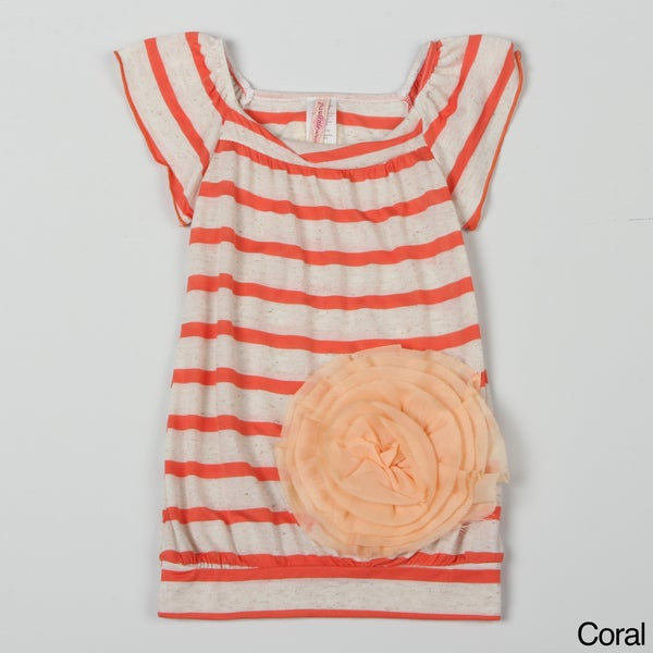 Paulinie Collection Girl's Striped Flower Applique Top