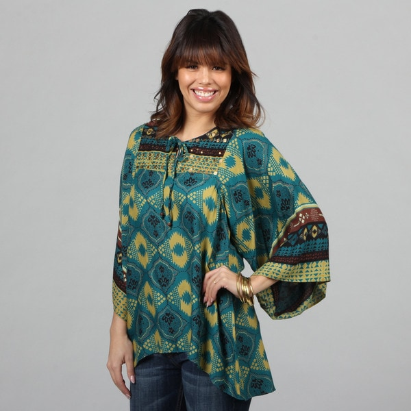 Lola P. Women's Teal Challis Print Dolman-sleeve Tunic