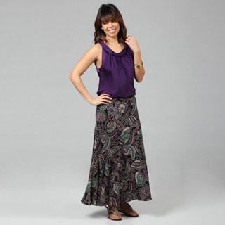 Lola P. Women's 'Challis' Black Paisley Printed Long Skirt