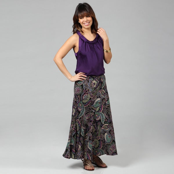 Lola P. Women's 'Challis' Black Paisley Printed Long Skirt