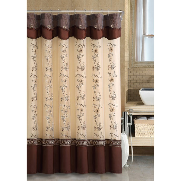 VCNY Daphne Beige and Gold Shower Curtain - VCNY Daphne Beige And Gold  Shower Curtain - - Brown And Gold Shower Curtains Rickevans Homes