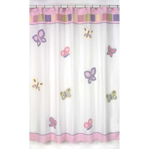Sweet Jojo Designs Pink and Purple Butterfly Kids Shower Curtain