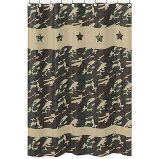 Sweet Jojo Designs Green Army Camouflage Kids Shower Curtain