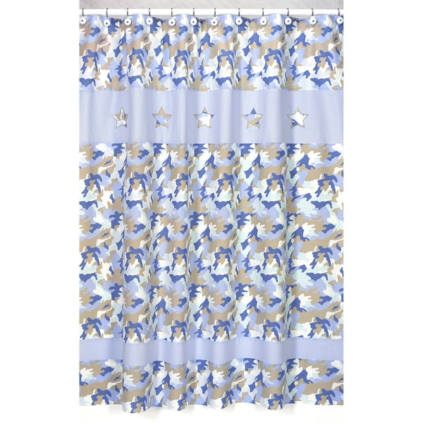 Sweet Jojo Designs Blue and Khaki Camouflage Kids Shower Curtain