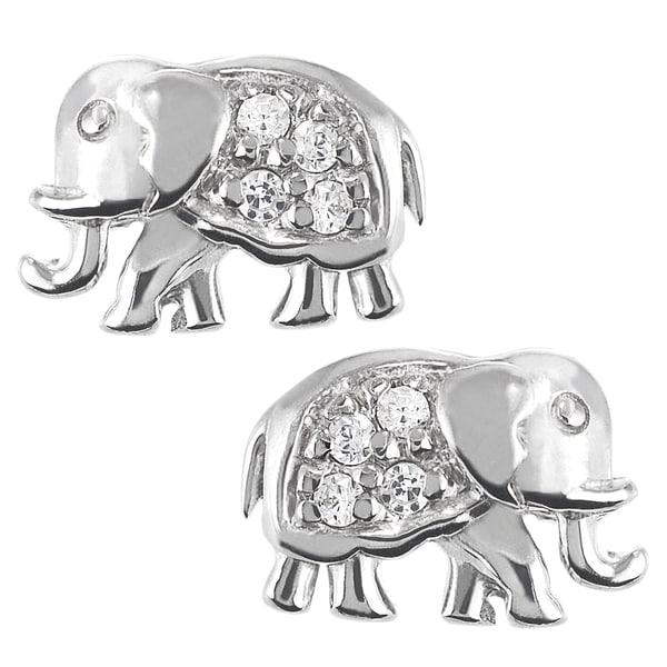 Journee Sterling Silver Cubic Zirconia Elephant Stud Earrings