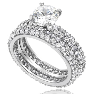 Journee Collection Sterling Silver Basket-set Cubic Zirconia Bridal-style Ring Set