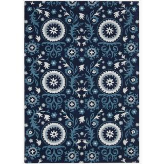 Hand-tufted Suzani Navy Floral Medallion Rug (3'9 x 5'9)