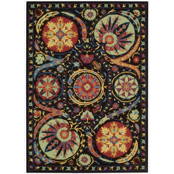 Hand-tufted Suzani Black/ Multicolor Floral Medallion Rug (2'6 x 4')