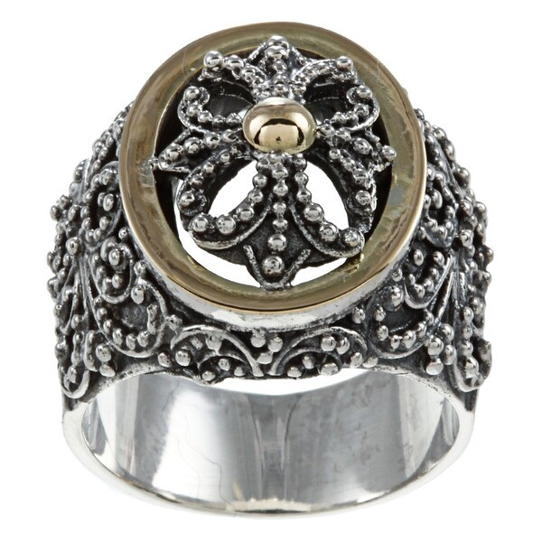 Madison 18k Yellow Gold and Sterling Silver Signet Ring