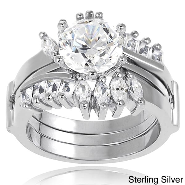 Journee Collection Sterling Silver Cubic Zirconia Solitaire Bridal Ring Set