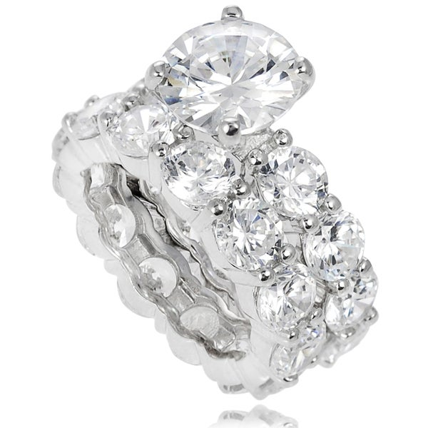 Journee Collection Sterling Silver Prong-set Cubic Zirconia Bridal-style Ring Set