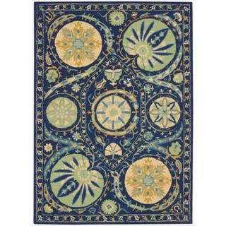 Hand-tufted Suzani Blue Floral Medallion Rug (5'3 x 7'5)